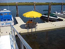 Picture of EZ Dock bench and umbrella